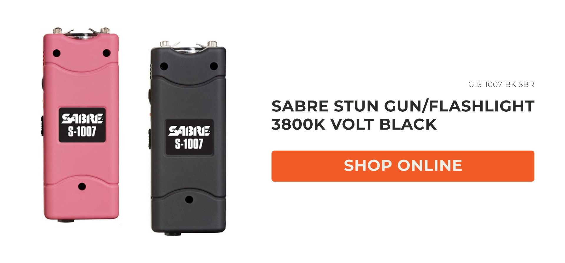 SABRE STUN GUN/FLASHLIGHT 3800K VOLT BLACK